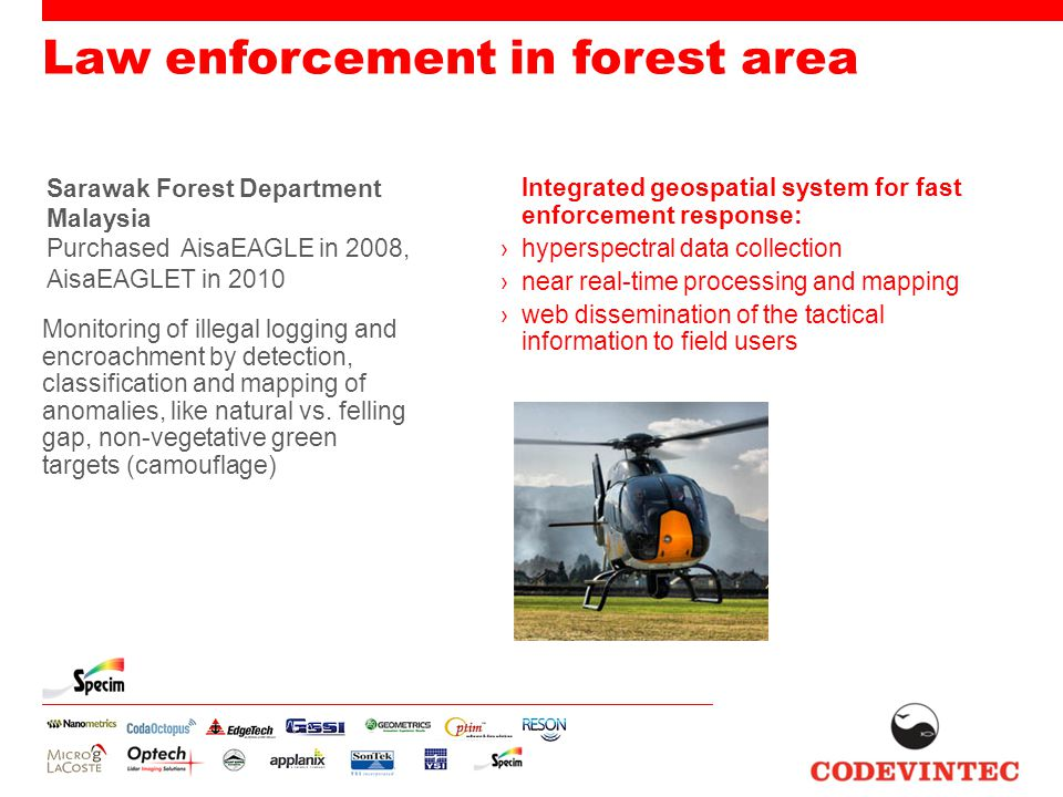 Law enforcement in forest area Sarawak Forest Department Malaysia Purchased AisaEAGLE in 2008, AisaEAGLET in 2010 Monitoring of illegal logging and en