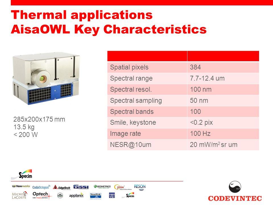 Thermal applications AisaOWL Key Characteristics 285x200x175 mm 13.5 kg < 200 W Spatial pixels384 Spectral range7.7-12.4 um Spectral resol.100 nm Spectral sampling50 nm Spectral bands100 Smile, keystone<0.2 pix Image rate100 Hz NESR@10um20 mW/m 2 sr um