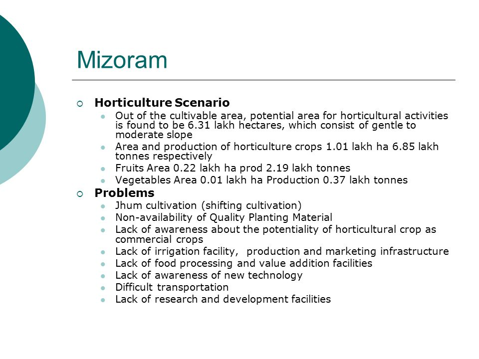 Mizoram  Horticulture Scenario Out of the cultivable area, potential area for horticultural activities is found to be 6.31 lakh hectares, which consist of gentle to moderate slope Area and production of horticulture crops 1.01 lakh ha 6.85 lakh tonnes respectively Fruits Area 0.22 lakh ha prod 2.19 lakh tonnes Vegetables Area 0.01 lakh ha Production 0.37 lakh tonnes  Problems Jhum cultivation (shifting cultivation) Non-availability of Quality Planting Material Lack of awareness about the potentiality of horticultural crop as commercial crops Lack of irrigation facility, production and marketing infrastructure Lack of food processing and value addition facilities Lack of awareness of new technology Difficult transportation Lack of research and development facilities