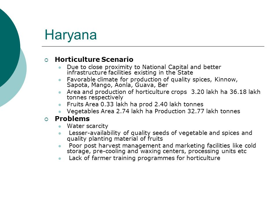 Haryana  Horticulture Scenario Due to close proximity to National Capital and better infrastructure facilities existing in the State Favorable climate for production of quality spices, Kinnow, Sapota, Mango, Aonla, Guava, Ber Area and production of horticulture crops 3.20 lakh ha 36.18 lakh tonnes respectively Fruits Area 0.33 lakh ha prod 2.40 lakh tonnes Vegetables Area 2.74 lakh ha Production 32.77 lakh tonnes  Problems Water scarcity Lesser-availability of quality seeds of vegetable and spices and quality planting material of fruits Poor post harvest management and marketing facilities like cold storage, pre-cooling and waxing centers, processing units etc Lack of farmer training programmes for horticulture