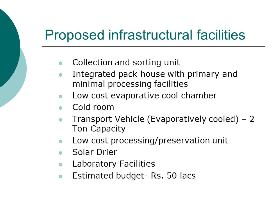 Proposed infrastructural facilities Collection and sorting unit Integrated pack house with primary and minimal processing facilities Low cost evaporat