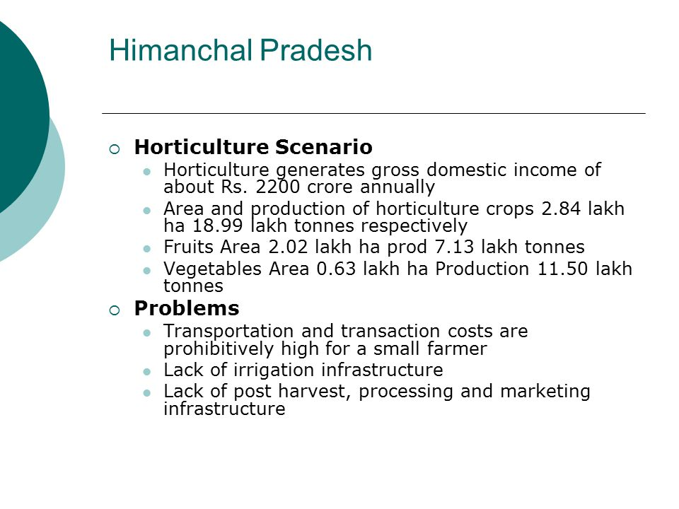 Himanchal Pradesh  Horticulture Scenario Horticulture generates gross domestic income of about Rs. 2200 crore annually Area and production of horticu