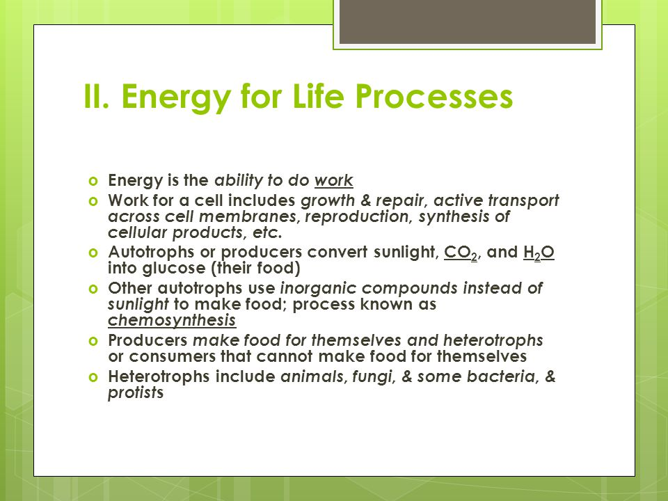 II. Energy for Life Processes  Energy is the ability to do work  Work for a cell includes growth & repair, active transport across cell membranes, r