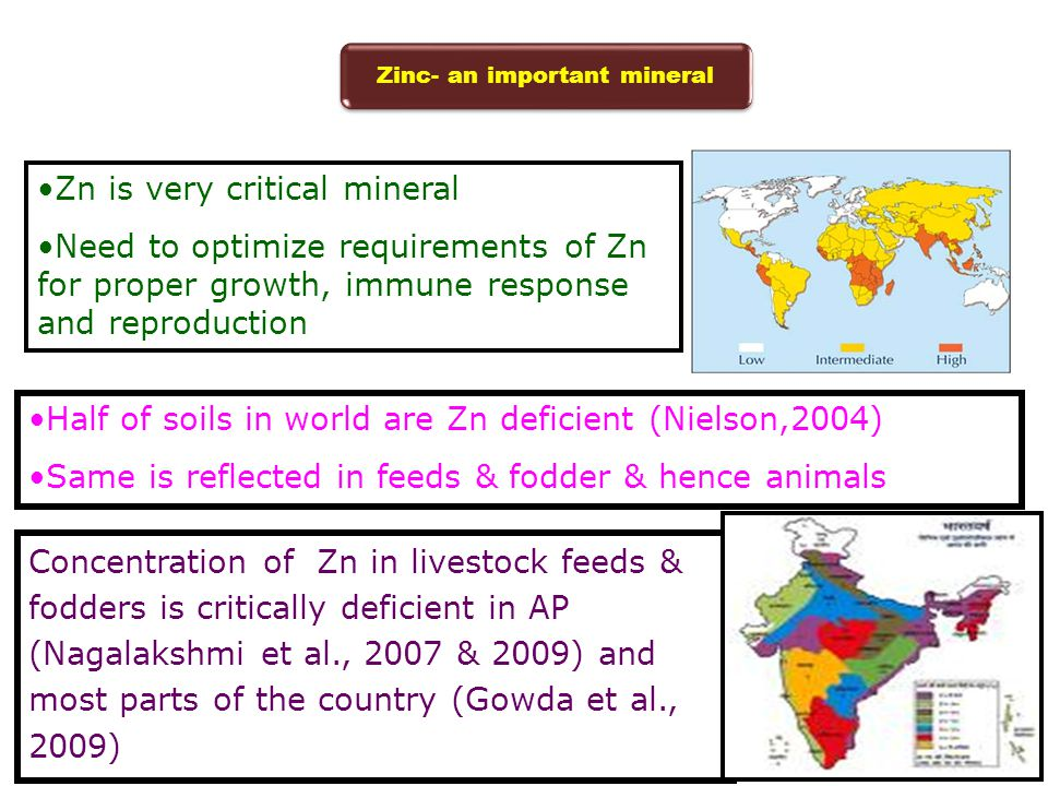 Half of soils in world are Zn deficient (Nielson,2004) Same is reflected in feeds & fodder & hence animals Zn is very critical mineral Need to optimiz