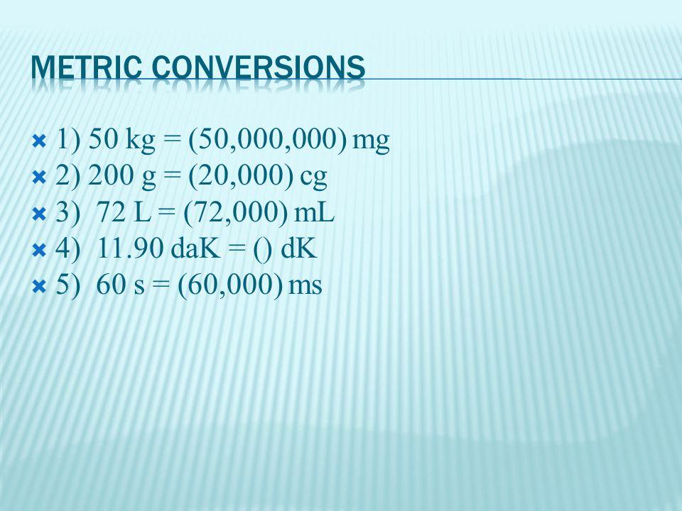  1) 50 kg = (50,000,000) mg  2) 200 g = (20,000) cg  3) 72 L = (72,000) mL  4) 11.90 daK = () dK  5) 60 s = (60,000) ms