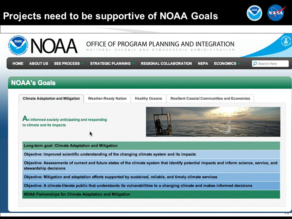 19 Projects need to be supportive of NOAA Goals