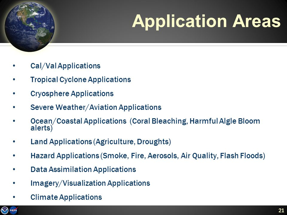 21 Application Areas Cal/Val Applications Tropical Cyclone Applications Cryosphere Applications Severe Weather/Aviation Applications Ocean/Coastal Applications (Coral Bleaching, Harmful Algle Bloom alerts) Land Applications (Agriculture, Droughts) Hazard Applications (Smoke, Fire, Aerosols, Air Quality, Flash Floods) Data Assimilation Applications Imagery/Visualization Applications Climate Applications