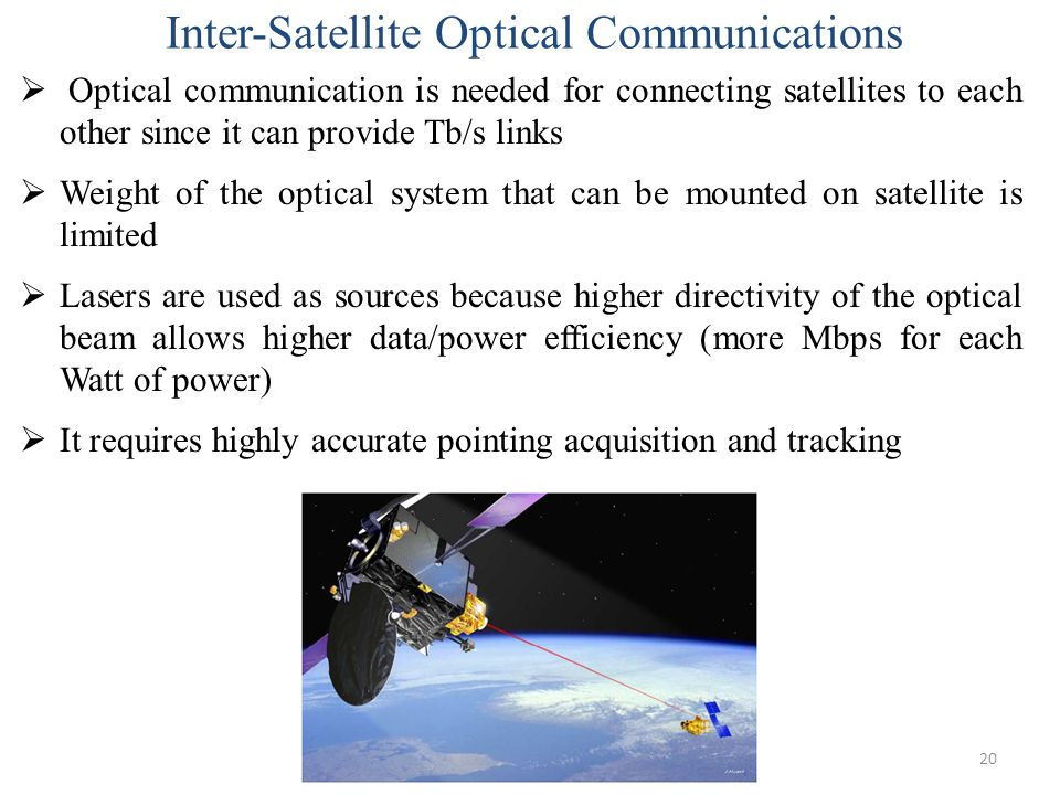 20  Optical communication is needed for connecting satellites to each other since it can provide Tb/s links  Weight of the optical system that can b