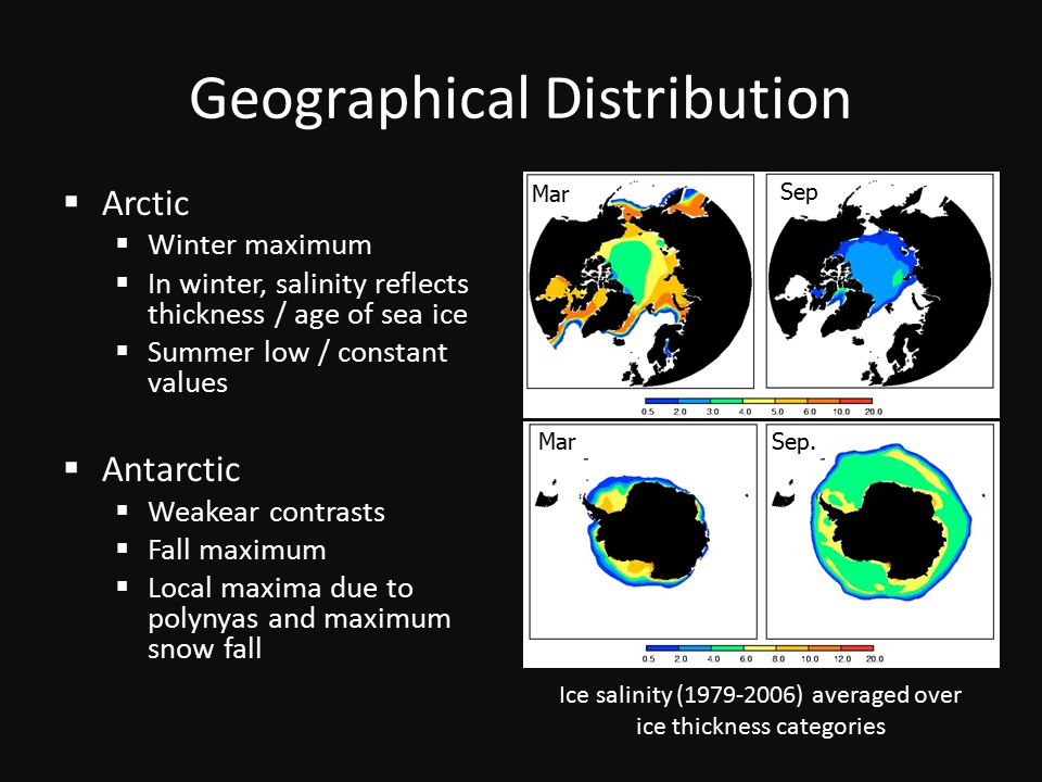 Geographical Distribution  Arctic  Winter maximum  In winter, salinity reflects thickness / age of sea ice  Summer low / constant values  Antarctic  Weakear contrasts  Fall maximum  Local maxima due to polynyas and maximum snow fall Mar Sep Sep.Mar Ice salinity (1979-2006) averaged over ice thickness categories