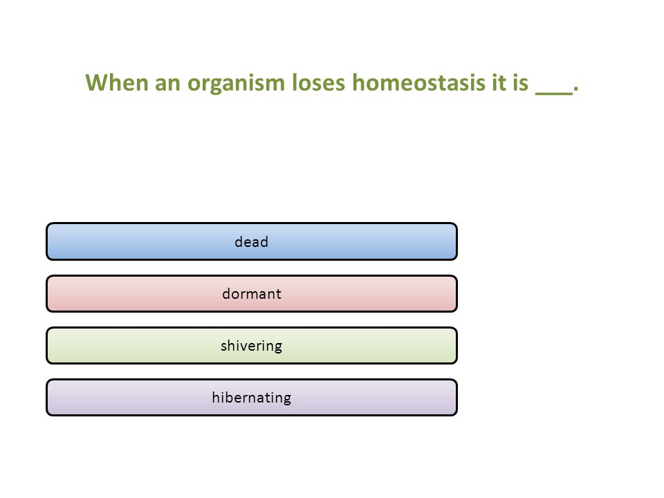 When an organism loses homeostasis it is ___. dead dormant shivering hibernating