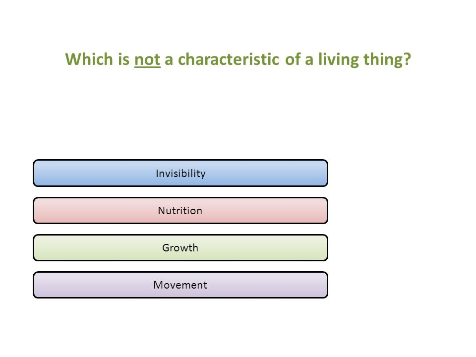 Which is not a characteristic of a living thing? Invisibility Nutrition Growth Movement