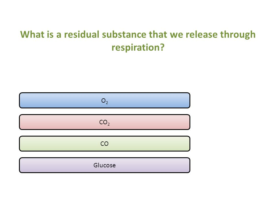 What is a residual substance that we release through respiration? O 2 CO 2 CO Glucose