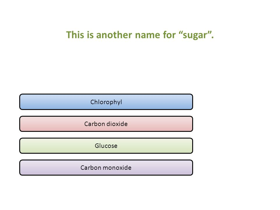 This is another name for sugar . Chlorophyl Carbon dioxide Glucose Carbon monoxide