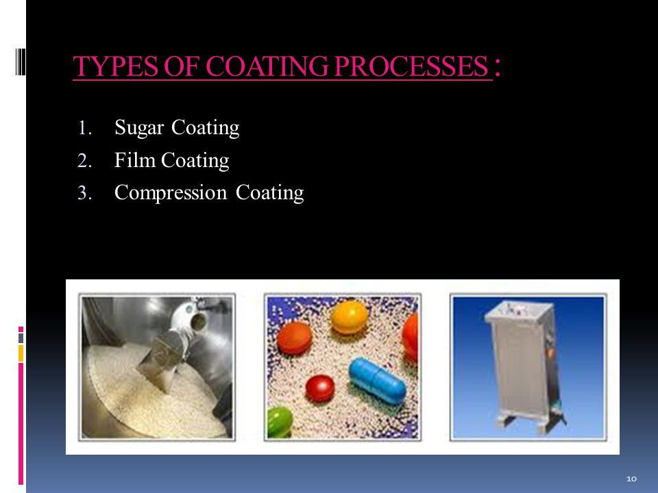 TYPES OF COATING PROCESSES : 10 1. Sugar Coating 2. Film Coating 3. Compression Coating