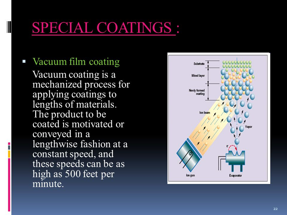 SPECIAL COATINGS :  Vacuum film coating Vacuum coating is a mechanized process for applying coatings to lengths of materials.