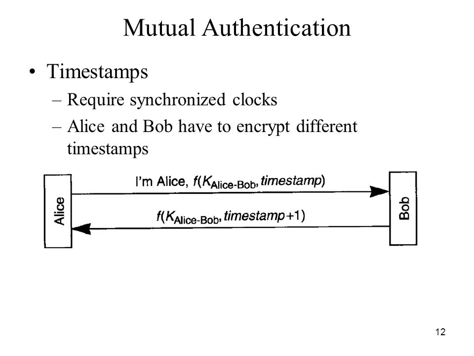 12 Mutual Authentication Timestamps –Require synchronized clocks –Alice and Bob have to encrypt different timestamps