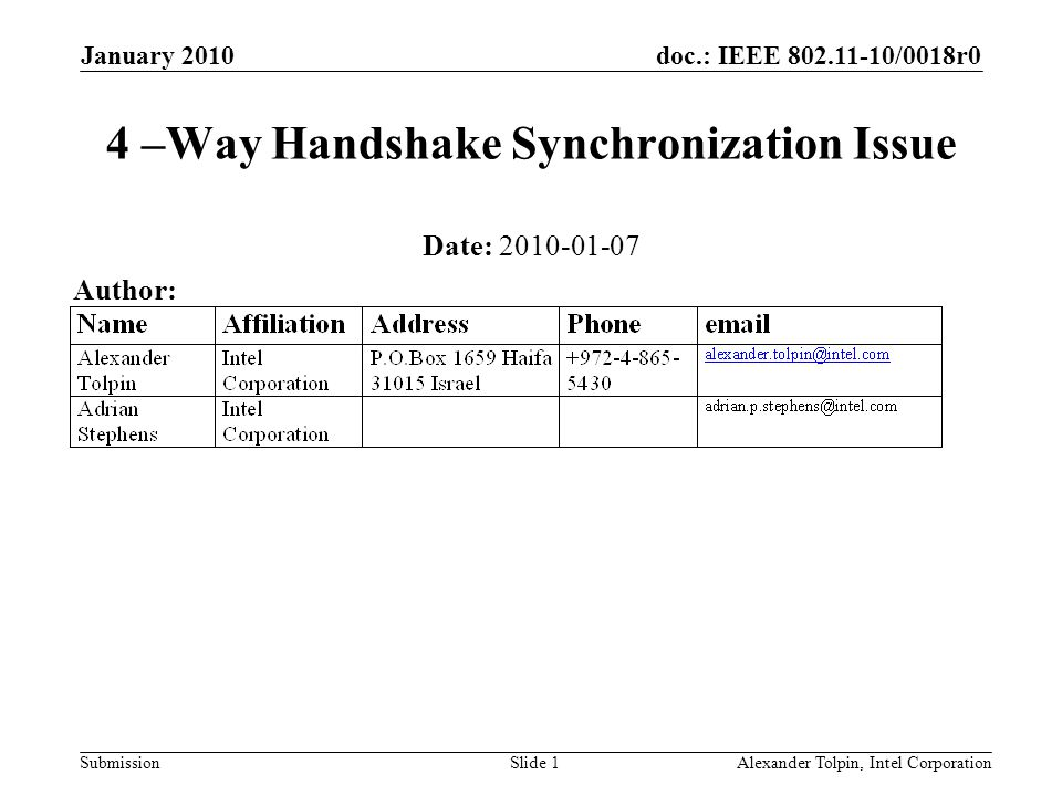 doc.: IEEE 802.11-10/0018r0 Submission January 2010 Alexander Tolpin, Intel CorporationSlide 1 4 –Way Handshake Synchronization Issue Date: 2010-01-07
