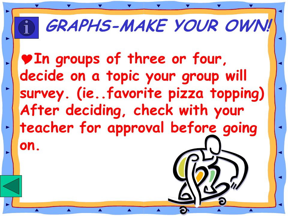 GO BACK TO ACTIVITY SLIDE GO TO TEACHER INFORMATION SLIDE To move from one activity to the next, just click on the slide! GRAPHING OR CLICK ON A BUTTO