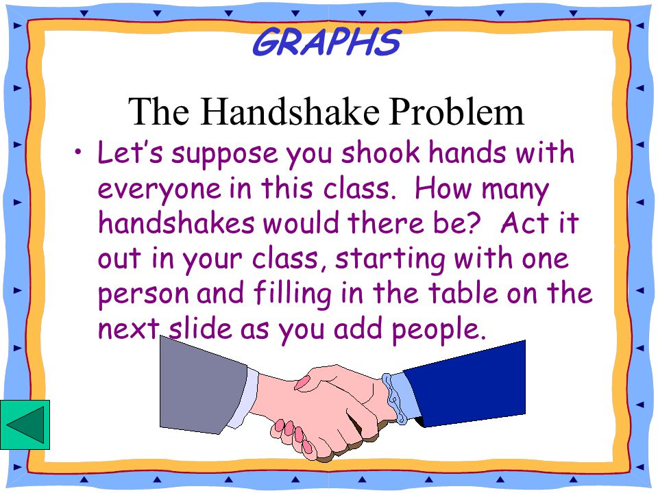 Let's suppose you shook hands with everyone in this class.