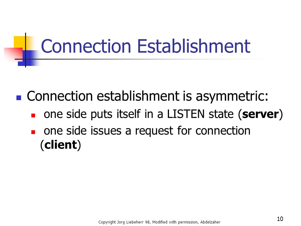 Copyright Jorg Liebeherr 98, Modified with permission, Abdelzaher 10 Connection Establishment Connection establishment is asymmetric: one side puts itself in a LISTEN state (server) one side issues a request for connection (client)