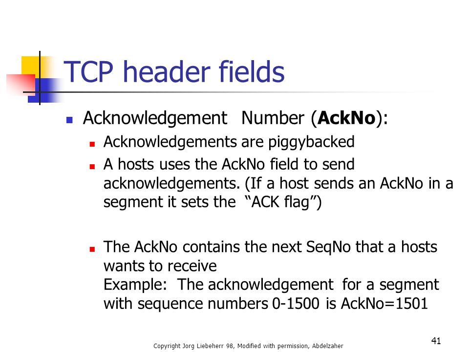 Copyright Jorg Liebeherr 98, Modified with permission, Abdelzaher 41 TCP header fields Acknowledgement Number (AckNo): Acknowledgements are piggybacke