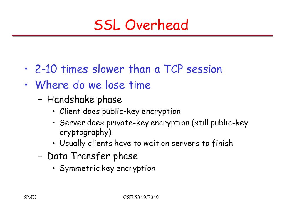 SMUCSE 5349/7349 SSL Overhead 2-10 times slower than a TCP session Where do we lose time –Handshake phase Client does public-key encryption Server does private-key encryption (still public-key cryptography) Usually clients have to wait on servers to finish –Data Transfer phase Symmetric key encryption