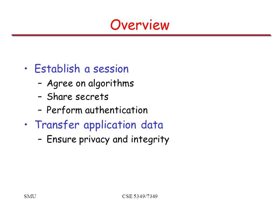SMUCSE 5349/7349 SSL Sessions Sessions vs.