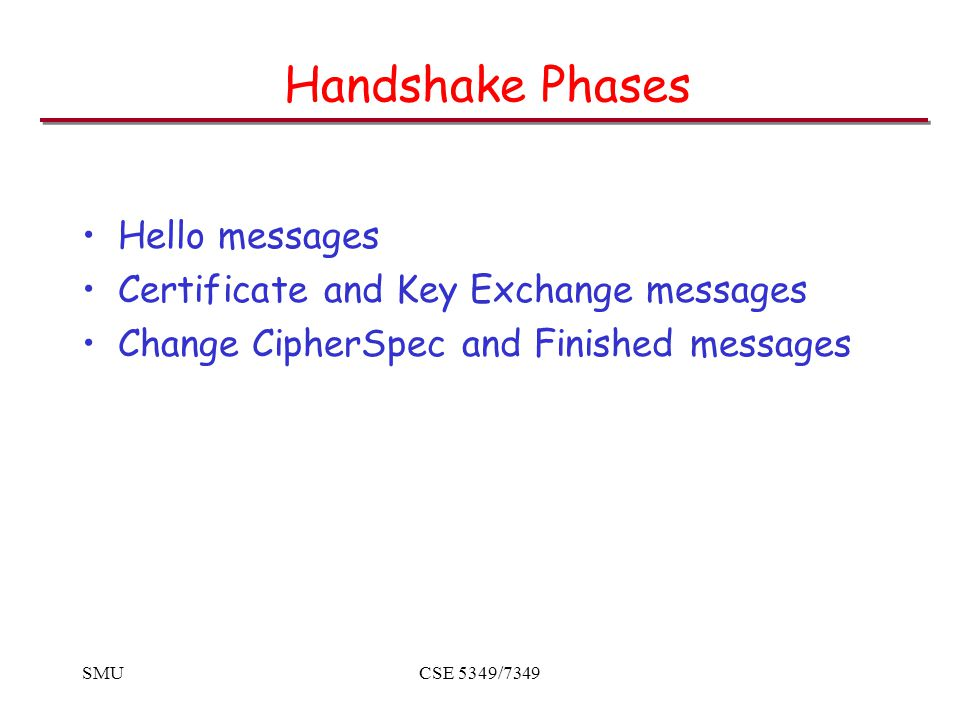 SMUCSE 5349/7349 Handshake Phases Hello messages Certificate and Key Exchange messages Change CipherSpec and Finished messages