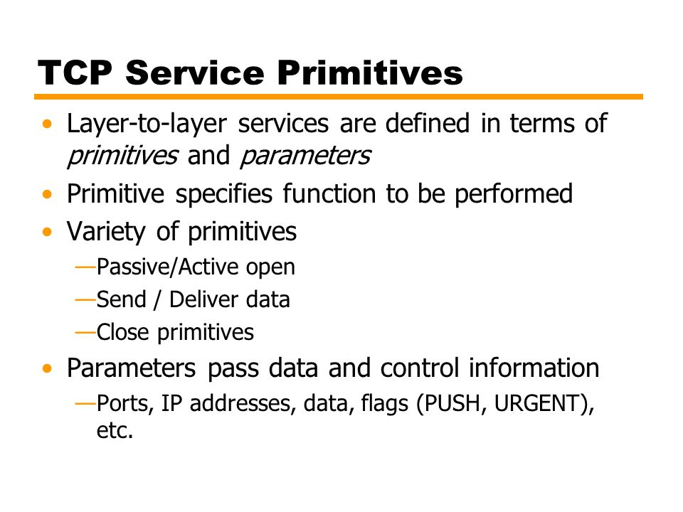 Use of TCP and IP Service Primitives