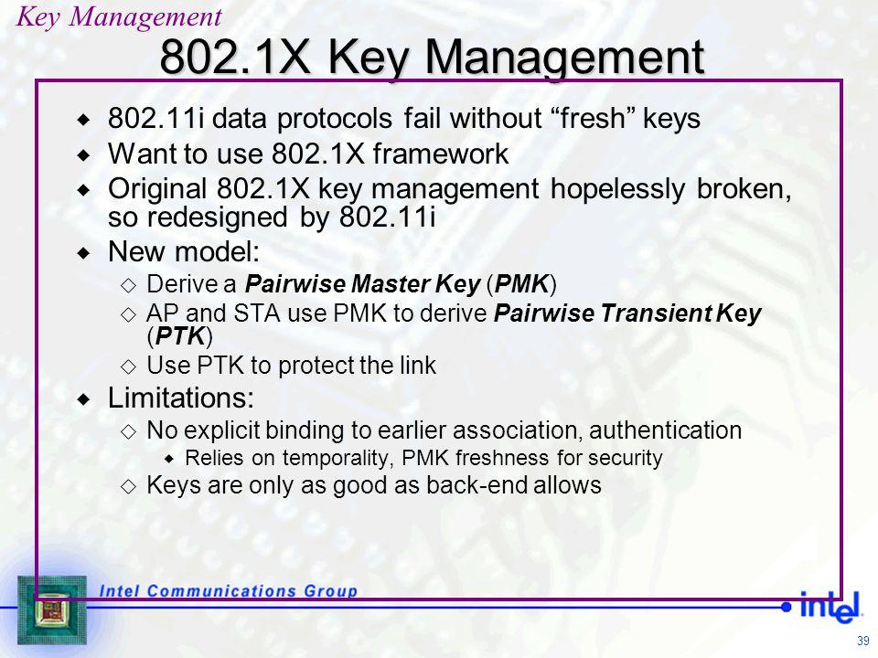 """39 802.1X Key Management  802.11i data protocols fail without """"fresh"""" keys  Want to use 802.1X framework  Original 802.1X key management hopelessly"""
