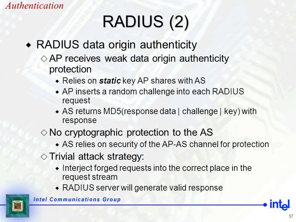 57 RADIUS (2)  RADIUS data origin authenticity  AP receives weak data origin authenticity protection  Relies on static key AP shares with AS  AP i