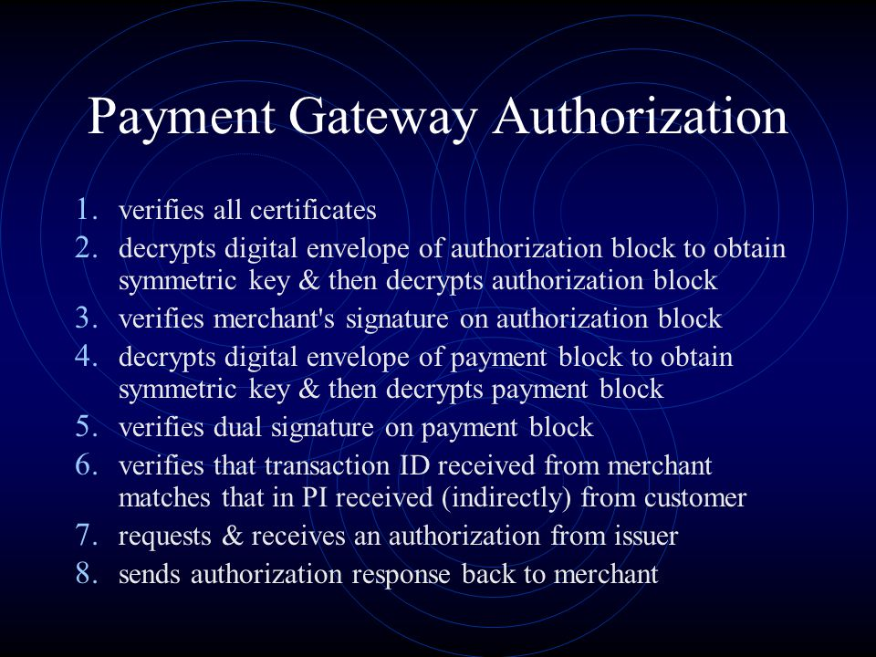 Payment Gateway Authorization 1. verifies all certificates 2. decrypts digital envelope of authorization block to obtain symmetric key & then decrypts