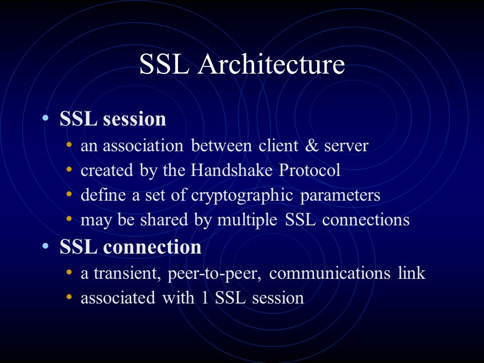 SSL session an association between client & server created by the Handshake Protocol define a set of cryptographic parameters may be shared by multipl