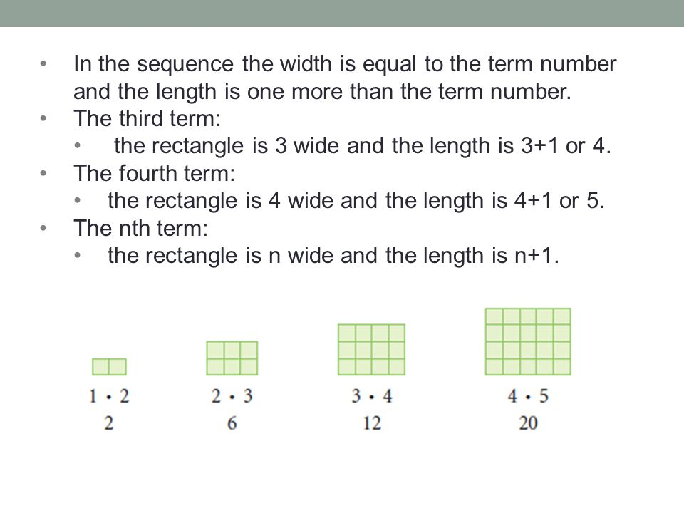 In the sequence the width is equal to the term number and the length is one more than the term number.