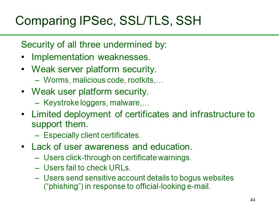 44 Comparing IPSec, SSL/TLS, SSH Security of all three undermined by: Implementation weaknesses. Weak server platform security. –Worms, malicious code