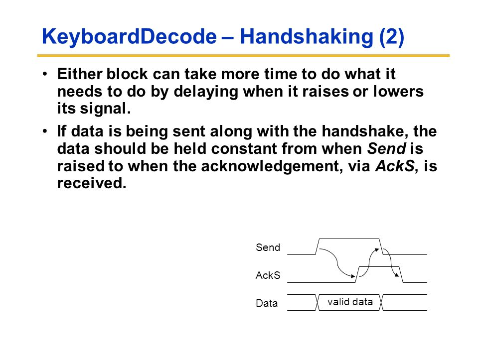 KeyboardDecode – Handshaking (2) Either block can take more time to do what it needs to do by delaying when it raises or lowers its signal. If data is