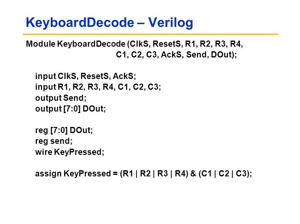 KeyboardDecode – Verilog Module KeyboardDecode (ClkS, ResetS, R1, R2, R3, R4, C1, C2, C3, AckS, Send, DOut); input ClkS, ResetS, AckS; input R1, R2, R3, R4, C1, C2, C3; output Send; output [7:0] DOut; reg [7:0] DOut; reg send; wire KeyPressed; assign KeyPressed = (R1 | R2 | R3 | R4) & (C1 | C2 | C3);