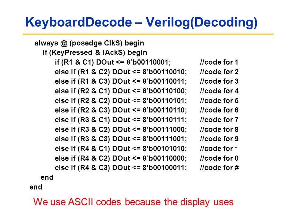 KeyboardDecode – Verilog(Decoding) always @ (posedge ClkS) begin if (KeyPressed & !AckS) begin if (R1 & C1) DOut <= 8'b00110001; //code for 1 else if (R1 & C2) DOut <= 8'b00110010; //code for 2 else if (R1 & C3) DOut <= 8'b00110011; //code for 3 else if (R2 & C1) DOut <= 8'b00110100; //code for 4 else if (R2 & C2) DOut <= 8'b00110101; //code for 5 else if (R2 & C3) DOut <= 8'b00110110; //code for 6 else if (R3 & C1) DOut <= 8'b00110111; //code for 7 else if (R3 & C2) DOut <= 8'b00111000; //code for 8 else if (R3 & C3) DOut <= 8'b00111001; //code for 9 else if (R4 & C1) DOut <= 8'b00101010; //code for * else if (R4 & C2) DOut <= 8'b00110000; //code for 0 else if (R4 & C3) DOut <= 8'b00100011; //code for # end We use ASCII codes because the display uses