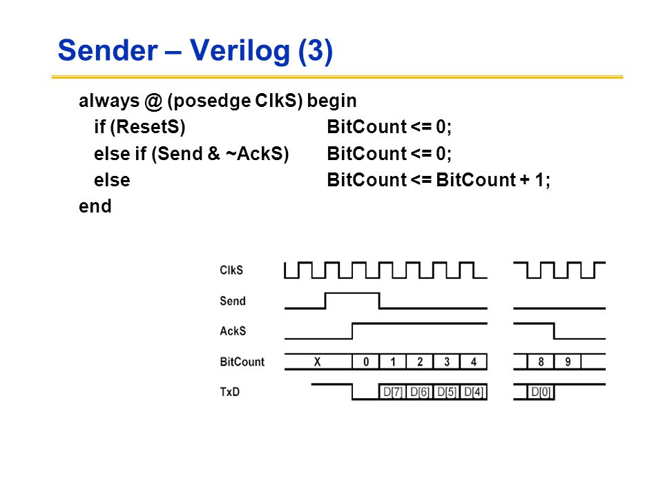 Sender – Verilog (3) always @ (posedge ClkS) begin if (ResetS) BitCount <= 0; else if (Send & ~AckS) BitCount <= 0; else BitCount <= BitCount + 1; end