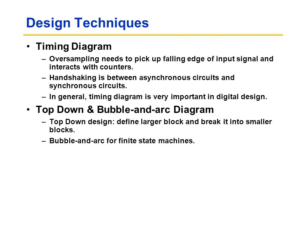Design Techniques Timing Diagram –Oversampling needs to pick up falling edge of input signal and interacts with counters.