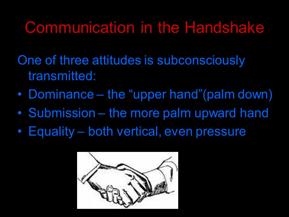 Handshake Messages Most male managers or bosses initiate the handshake and use the dominant handshake position.