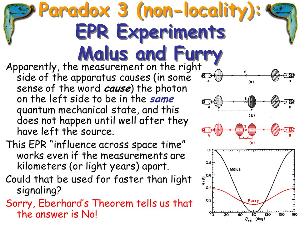Paradox 3 (non-locality): EPR Experiments Malus and Furry Apparently, the measurement on the right side of the apparatus causes (in some sense of the