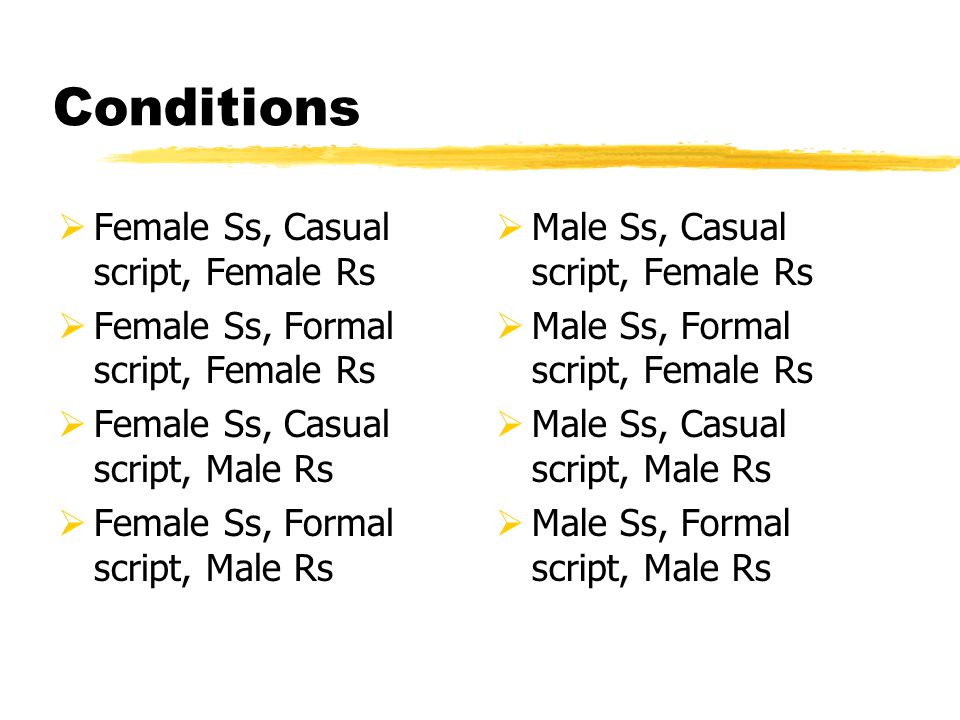 Conditions  Female Ss, Casual script, Female Rs  Female Ss, Formal script, Female Rs  Female Ss, Casual script, Male Rs  Female Ss, Formal script, Male Rs  Male Ss, Casual script, Female Rs  Male Ss, Formal script, Female Rs  Male Ss, Casual script, Male Rs  Male Ss, Formal script, Male Rs