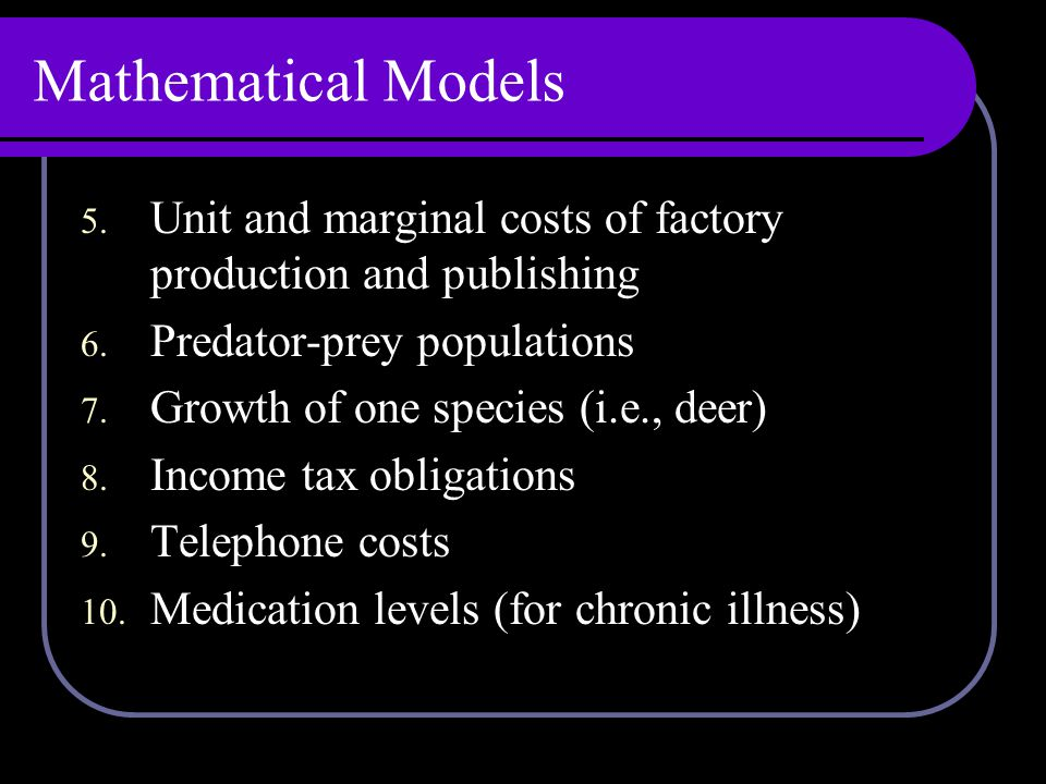 Mathematical Models 5. Unit and marginal costs of factory production and publishing 6.