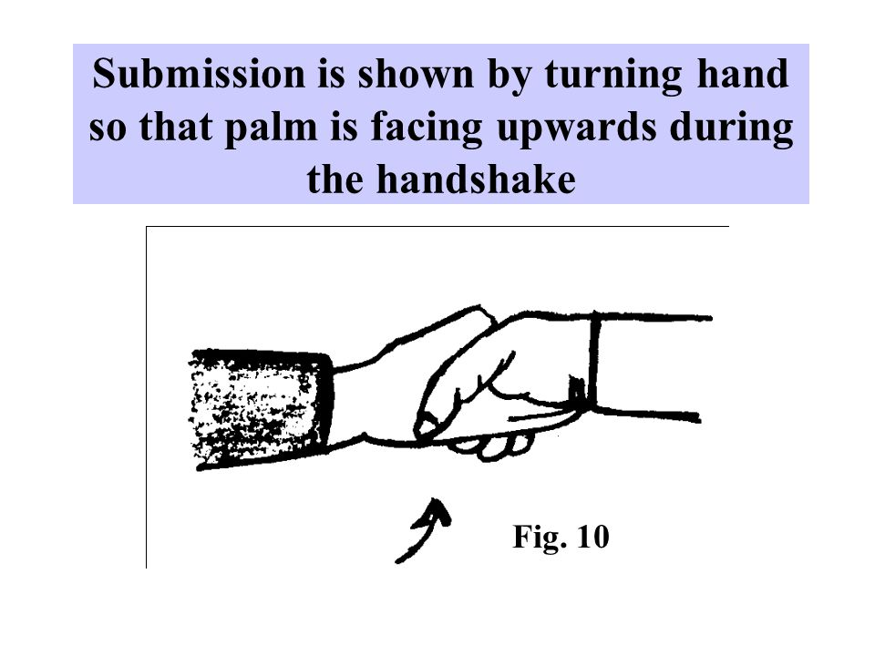 Submission is shown by turning hand so that palm is facing upwards during the handshake Fig. 10