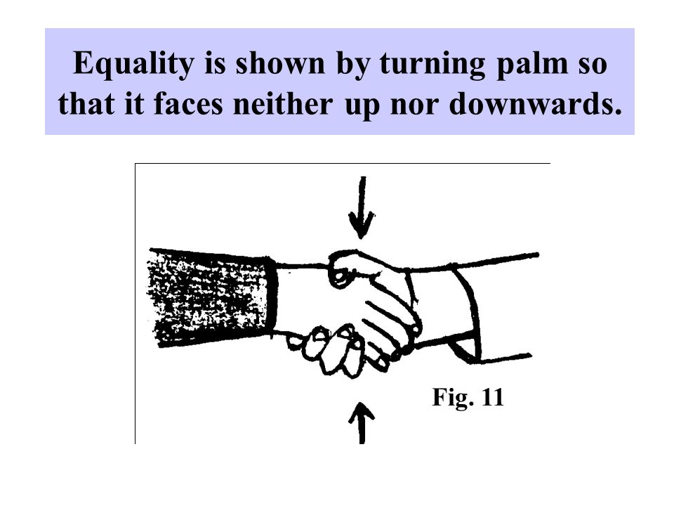 Equality is shown by turning palm so that it faces neither up nor downwards. Fig. 11