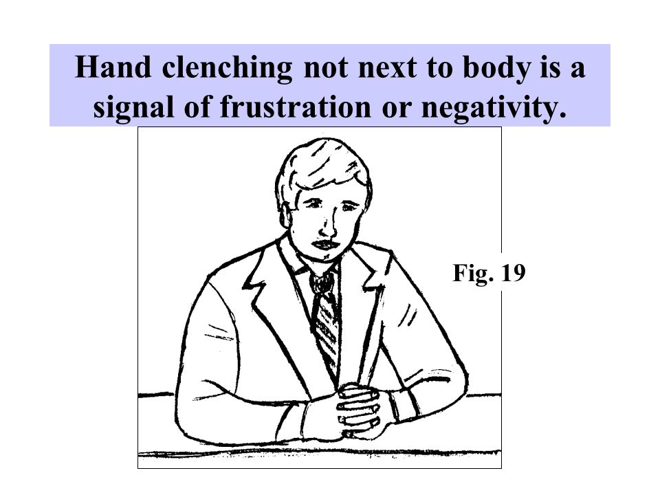 Hand clenching not next to body is a signal of frustration or negativity. Fig. 19