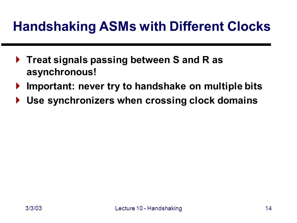 3/3/03Lecture 10 - Handshaking14 Handshaking ASMs with Different Clocks  Treat signals passing between S and R as asynchronous.