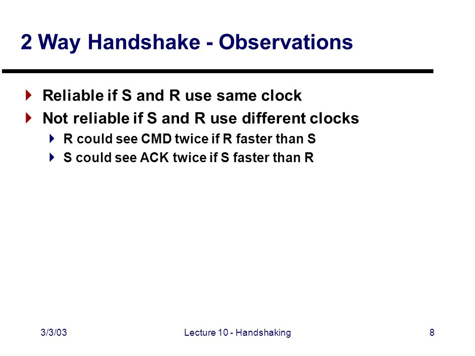 3/3/03Lecture 10 - Handshaking8 2 Way Handshake - Observations  Reliable if S and R use same clock  Not reliable if S and R use different clocks  R could see CMD twice if R faster than S  S could see ACK twice if S faster than R