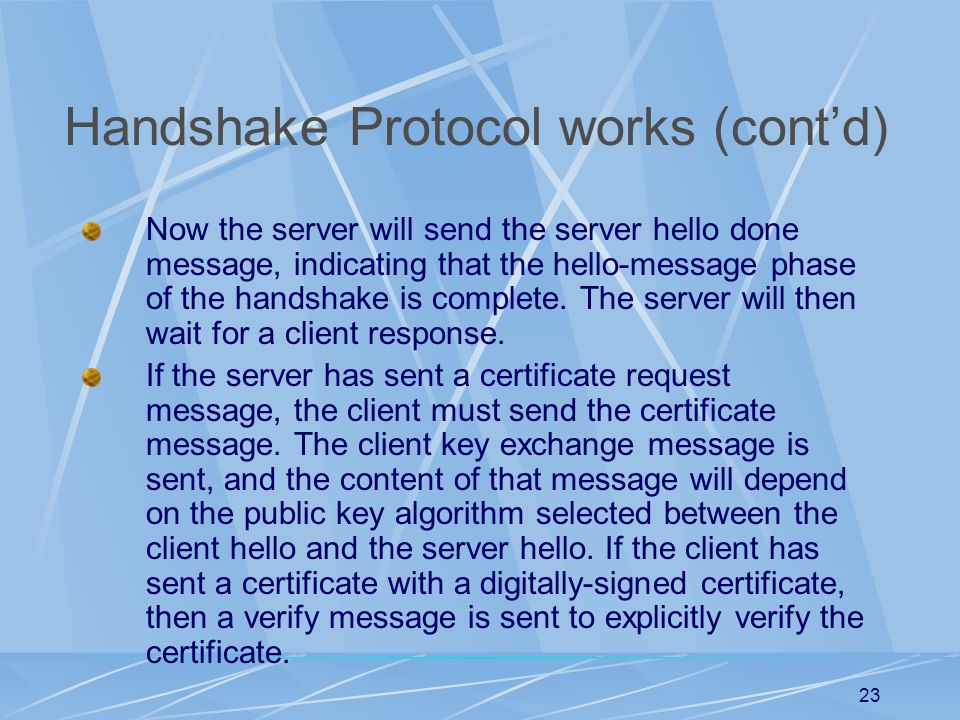 22 How Handshake Protocol works The client sends a client hello message to which the server must respond with a server hello message.